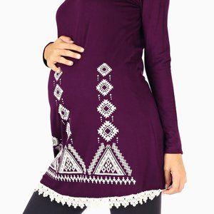 Purple & White Crochet Hem Maternity Tunic